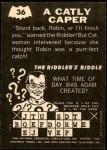 1966 Topps Batman -  Riddler Back #36 RID  Catly Caper Back Thumbnail