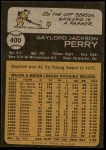 1973 Topps #400  Gaylord Perry  Back Thumbnail