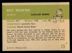 1961 Fleer #13  Ray Renfro  Back Thumbnail