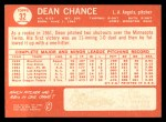 1964 Topps #32  Dean Chance  Back Thumbnail