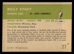 1961 Fleer #27  Bill Stacy  Back Thumbnail