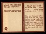 1967 Philadelphia #127  Riley Mattson  Back Thumbnail