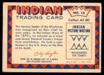 1959 Fleer Indian #14   Chief Washakie Back Thumbnail