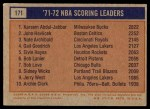 1972 Topps #171   -  John Havlicek / Nate Archibald / Kareem Abdul-Jabbar NBA Scoring Leaders Back Thumbnail