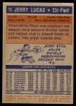 1972 Topps #15  Jerry Lucas   Back Thumbnail