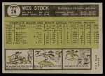 1961 Topps #26  Wes Stock  Back Thumbnail