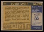 1971 Topps #93  Bobby Smith  Back Thumbnail