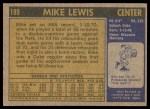 1971 Topps #189  Mike Lewis  Back Thumbnail