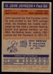 1972 Topps #43  John Johnson   Back Thumbnail