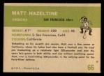 1961 Fleer #66  Matt Hazeltine  Back Thumbnail