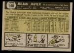 1961 Topps #148  Julian Javier  Back Thumbnail