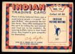 1959 Fleer Indian #19   Buffalo Horn Head Dress Back Thumbnail