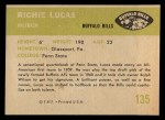 1961 Fleer #135  Richie Lucas  Back Thumbnail