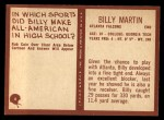 1967 Philadelphia #6  Billy Martin   Back Thumbnail