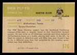 1961 Fleer #176  Don Floyd  Back Thumbnail