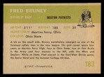 1961 Fleer #183  Fred Bruney  Back Thumbnail