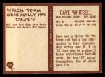 1967 Philadelphia #130  Dave Whitsell  Back Thumbnail