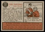 1962 Topps #326  Tom Parsons  Back Thumbnail