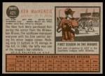 1962 Topps #421  Ken MacKenzie  Back Thumbnail