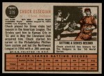 1962 Topps #379  Chuck Essegian  Back Thumbnail