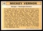 1963 Topps #402  Mickey Vernon  Back Thumbnail