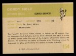 1961 Fleer #154  Gordy Holz  Back Thumbnail