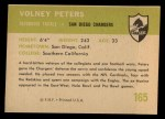 1961 Fleer #165  Volney Peters  Back Thumbnail