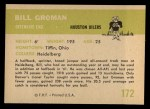 1961 Fleer #172  Bill Groman  Back Thumbnail