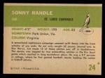1961 Fleer #24  Sonny Randle  Back Thumbnail