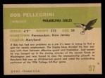 1961 Fleer #57  Bob Pellegrini  Back Thumbnail