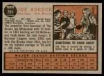 1962 Topps #265  Joe Adcock  Back Thumbnail