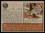 1962 Topps #444  Ted Willis  Back Thumbnail