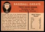 1961 Fleer #115  Travis Jackson  Back Thumbnail