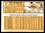 1963 Topps #156  Roy McMillan  Back Thumbnail