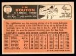 1966 Topps #276  Jim Bouton  Back Thumbnail