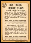1968 Topps #447   -  George Korince / Fred Lasher Tigers Rookies Back Thumbnail