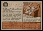1962 Topps #408  Gus Bell  Back Thumbnail