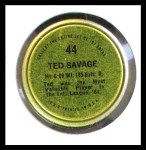 1971 Topps Coins #44  Ted Savage  Back Thumbnail