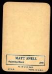 1970 Topps Glossy #30  Matt Snell     Back Thumbnail