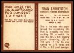 1967 Philadelphia #106  Fran Tarkenton  Back Thumbnail