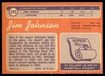 1970 Topps #245  Jimmy Johnson  Back Thumbnail