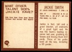 1967 Philadelphia #165  Jackie Smith  Back Thumbnail