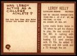 1967 Philadelphia #43  Leroy Kelly  Back Thumbnail
