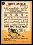 1967 Topps #15  Keith Lincoln  Back Thumbnail