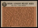 1962 Topps #423   -  Roy Face / Hoyt Wilhelm Rival League Relief Aces Back Thumbnail