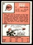 1966 Topps #81  Billy Joe  Back Thumbnail