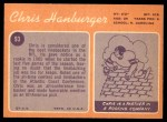 1970 Topps #93  Chris Hanburger  Back Thumbnail