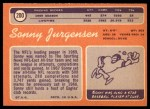 1970 Topps #200  Sonny Jurgensen  Back Thumbnail