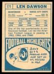 1968 Topps #171  Len Dawson  Back Thumbnail