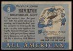 1955 Topps #9  Tom Hamilton  Back Thumbnail